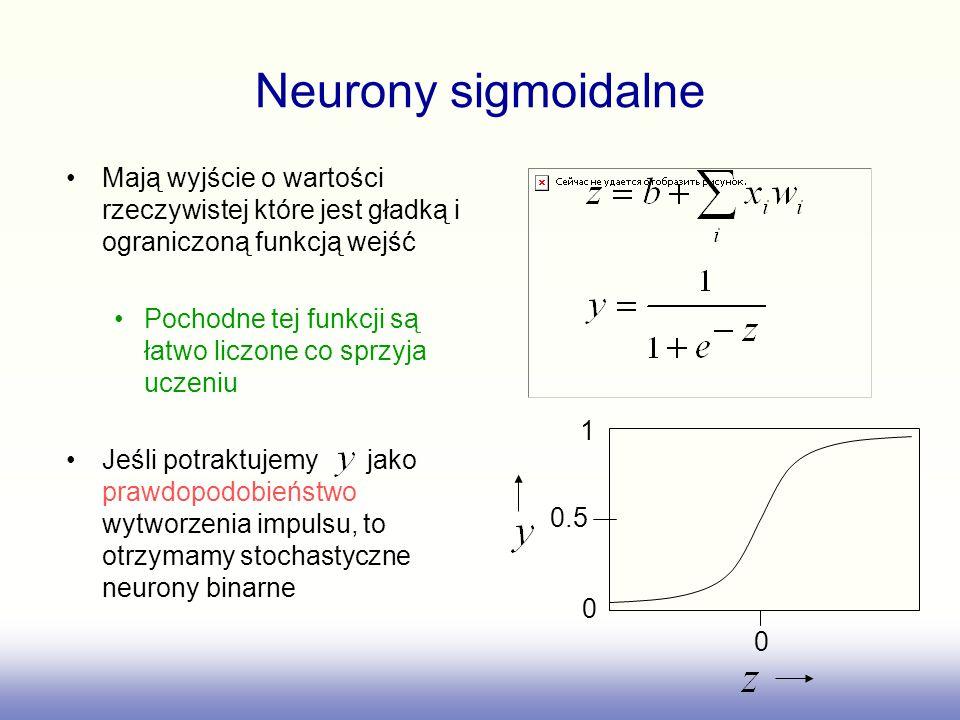 Neurony sigmoidalneMają wyjście o wartości rzeczywistej które jest gładką i ograniczoną funkcją wejść.