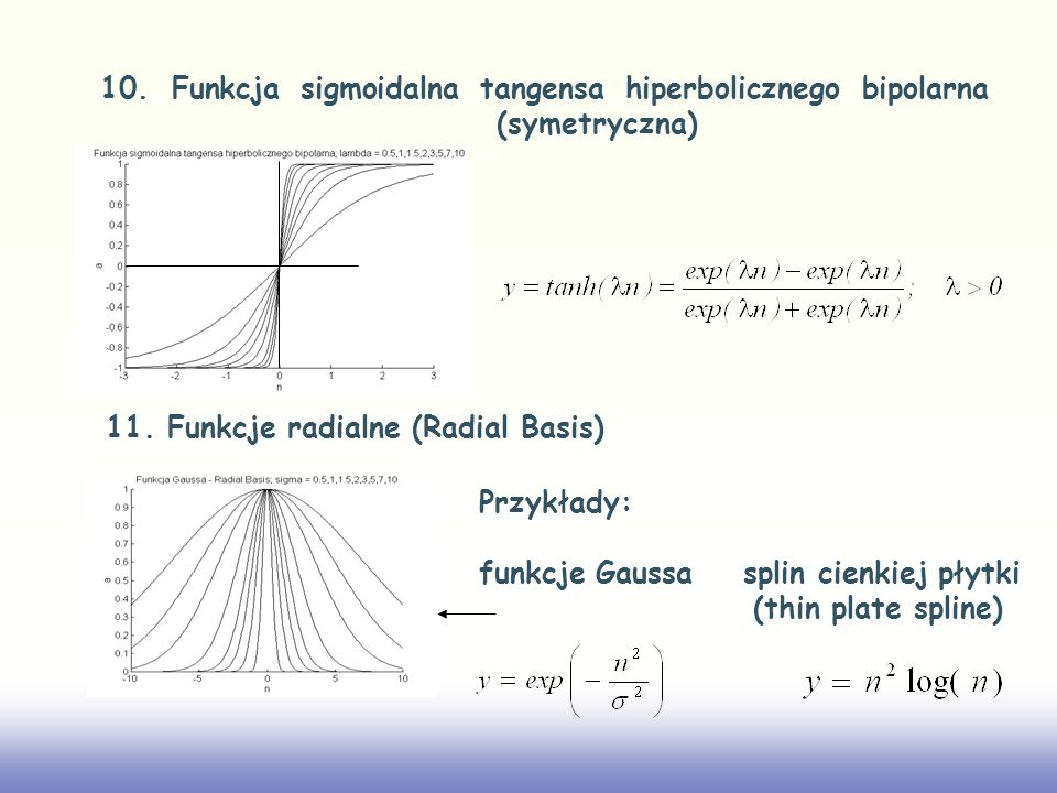 10. Funkcja sigmoidalna tangensa hiperbolicznego bipolarna (symetryczna)