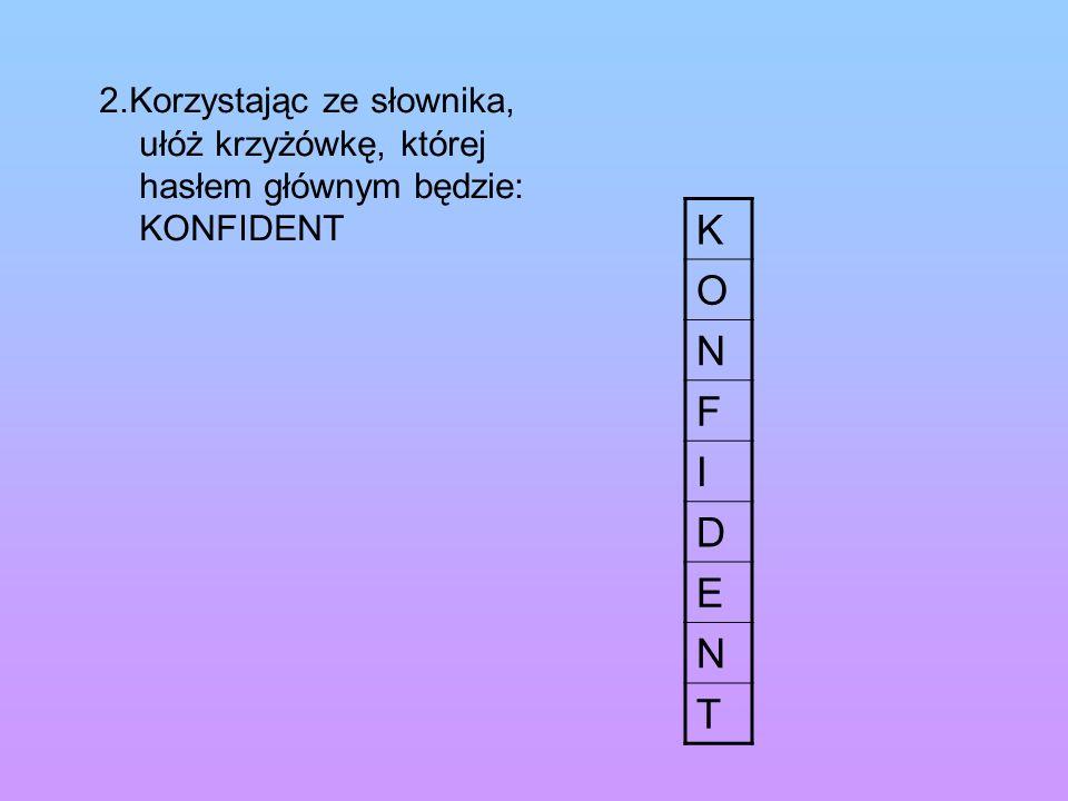 2.Korzystając ze słownika, ułóż krzyżówkę, której hasłem głównym będzie: KONFIDENT