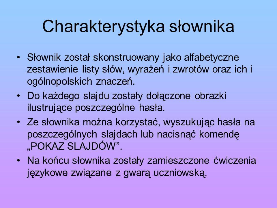 Charakterystyka słownika