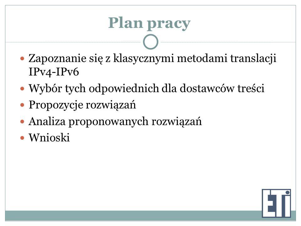 Plan pracy Zapoznanie się z klasycznymi metodami translacji IPv4-IPv6