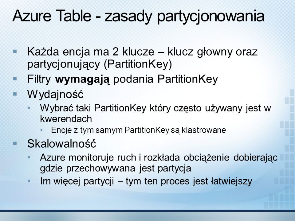 Azure Table - zasady partycjonowania