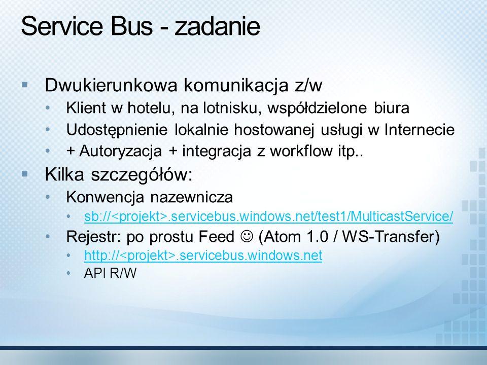 Service Bus - zadanie Dwukierunkowa komunikacja z/w Kilka szczegółów: