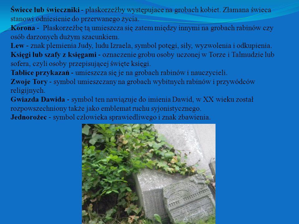 Świece lub świeczniki - płaskorzeźby występujace na grobach kobiet