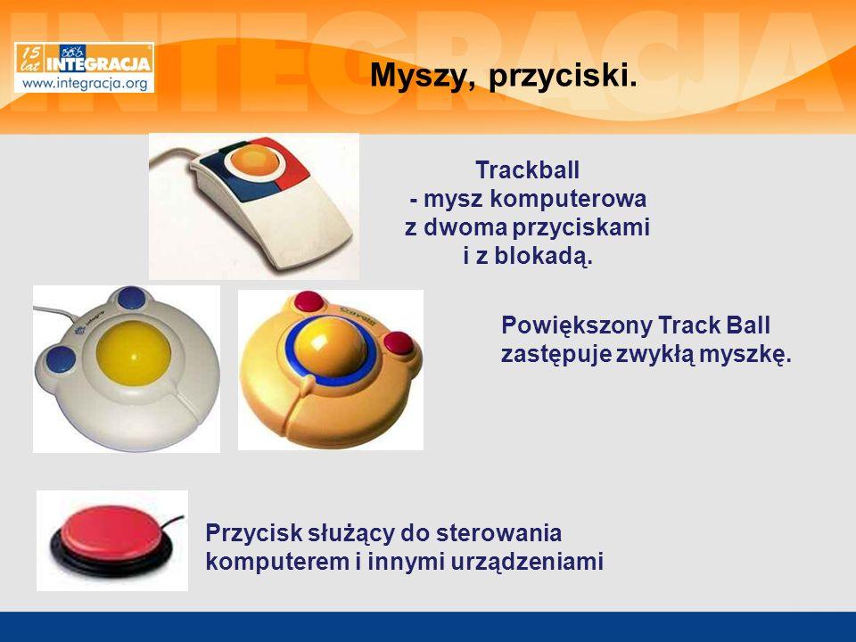 Trackball - mysz komputerowa z dwoma przyciskami i z blokadą.