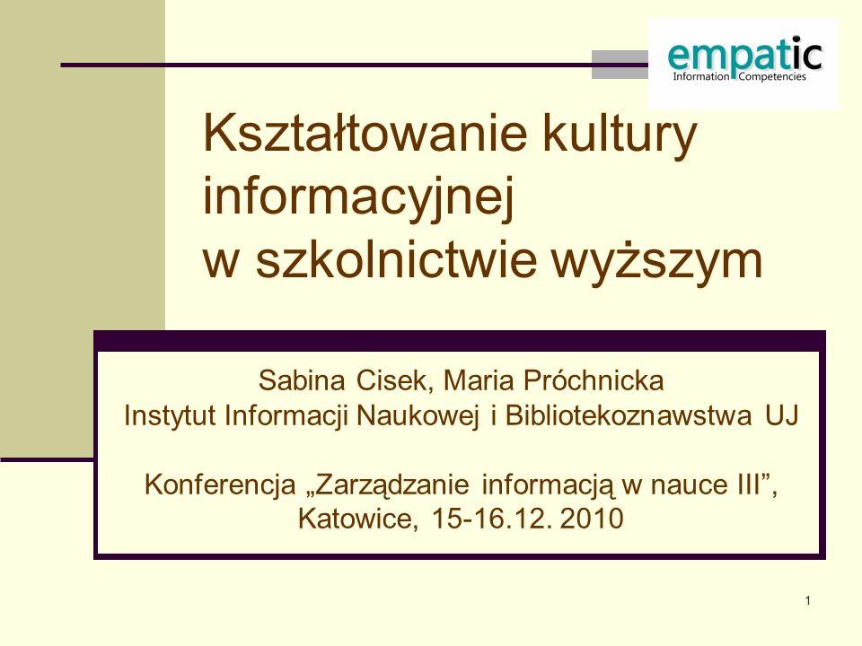 Kształtowanie kultury informacyjnej w szkolnictwie wyższym