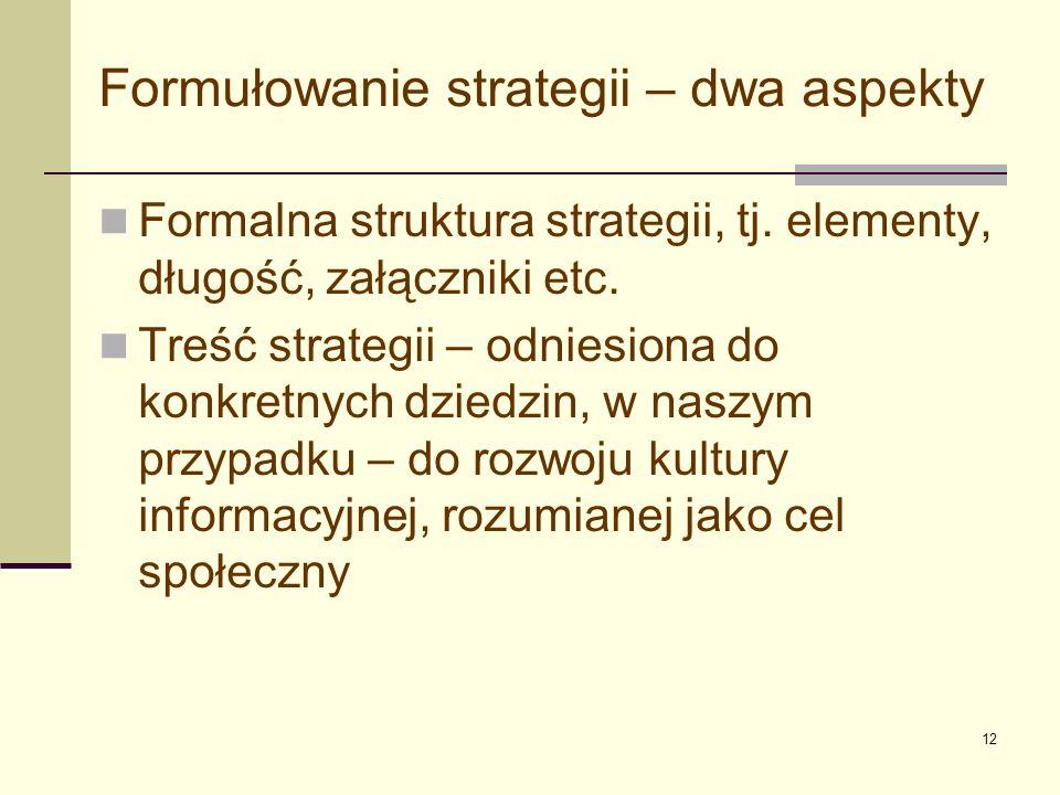 Formułowanie strategii – dwa aspekty