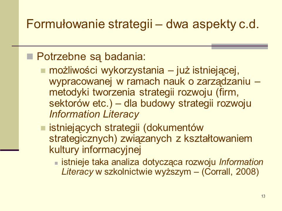 Formułowanie strategii – dwa aspekty c.d.