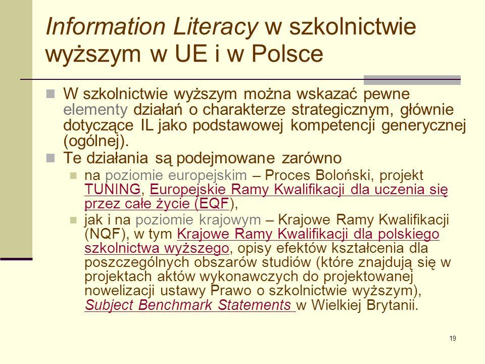 Information Literacy w szkolnictwie wyższym w UE i w Polsce