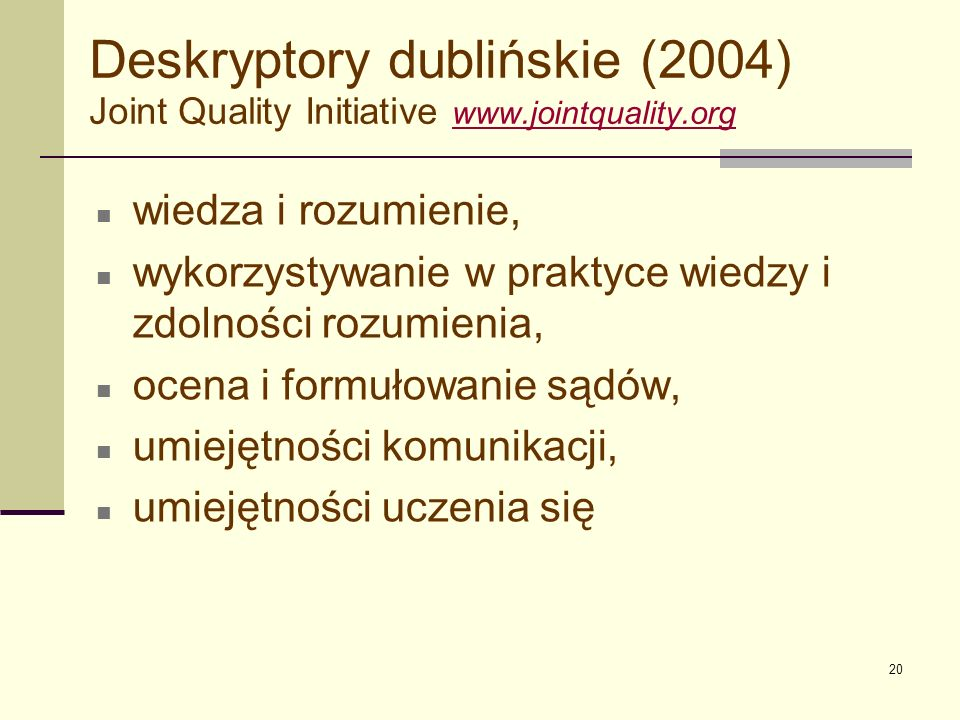 Deskryptory dublińskie (2004) Joint Quality Initiative www