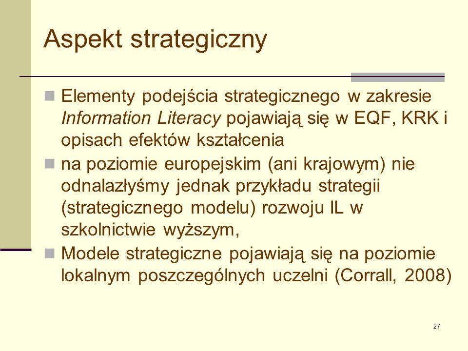 Aspekt strategiczny Elementy podejścia strategicznego w zakresie Information Literacy pojawiają się w EQF, KRK i opisach efektów kształcenia.