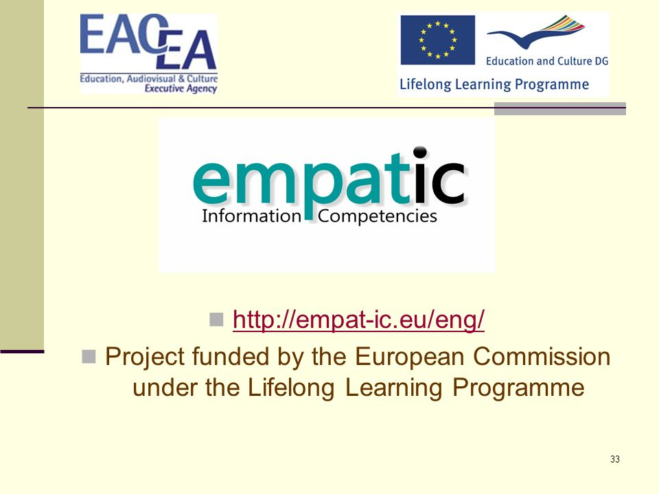 http://empat-ic.eu/eng/ Project funded by the European Commission under the Lifelong Learning Programme.