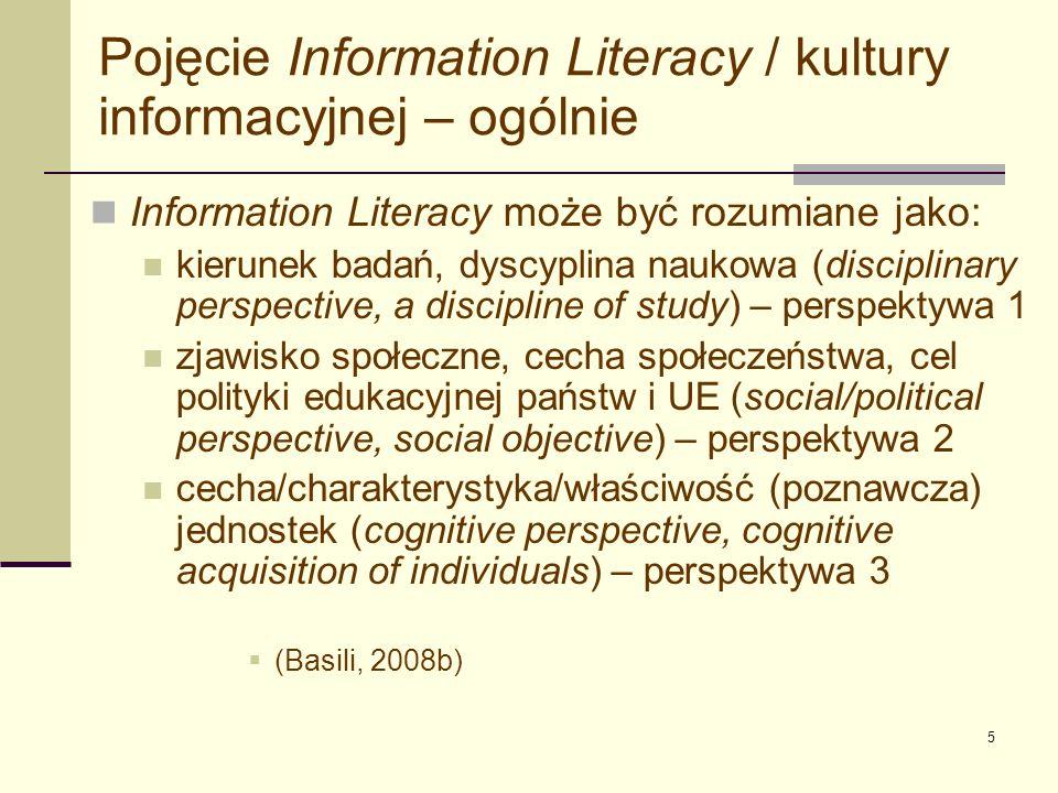 Pojęcie Information Literacy / kultury informacyjnej – ogólnie