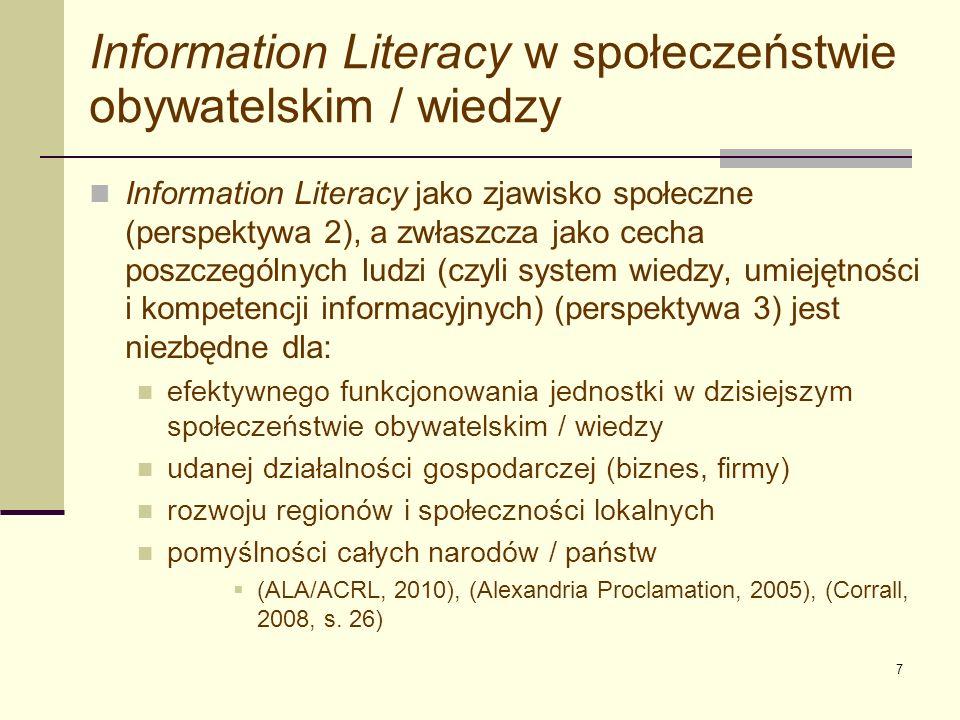 Information Literacy w społeczeństwie obywatelskim / wiedzy