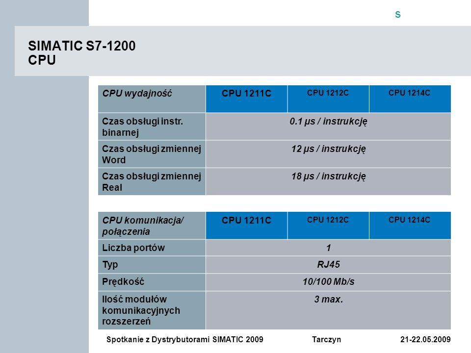 SIMATIC S7-1200 CPU CPU wydajność CPU 1211C