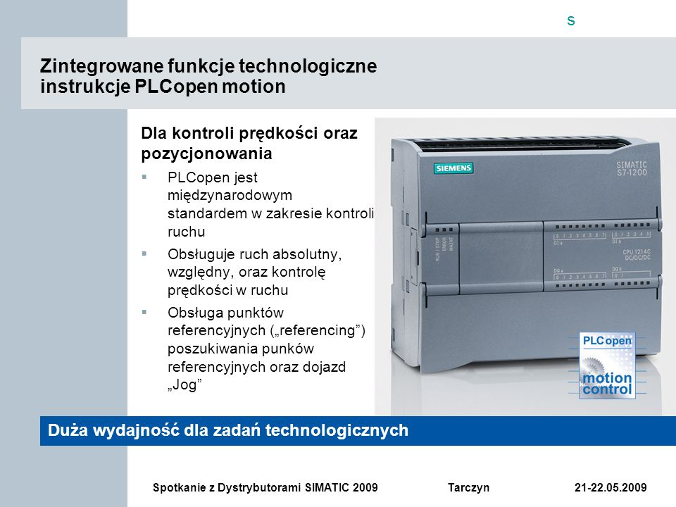 Zintegrowane funkcje technologiczne instrukcje PLCopen motion