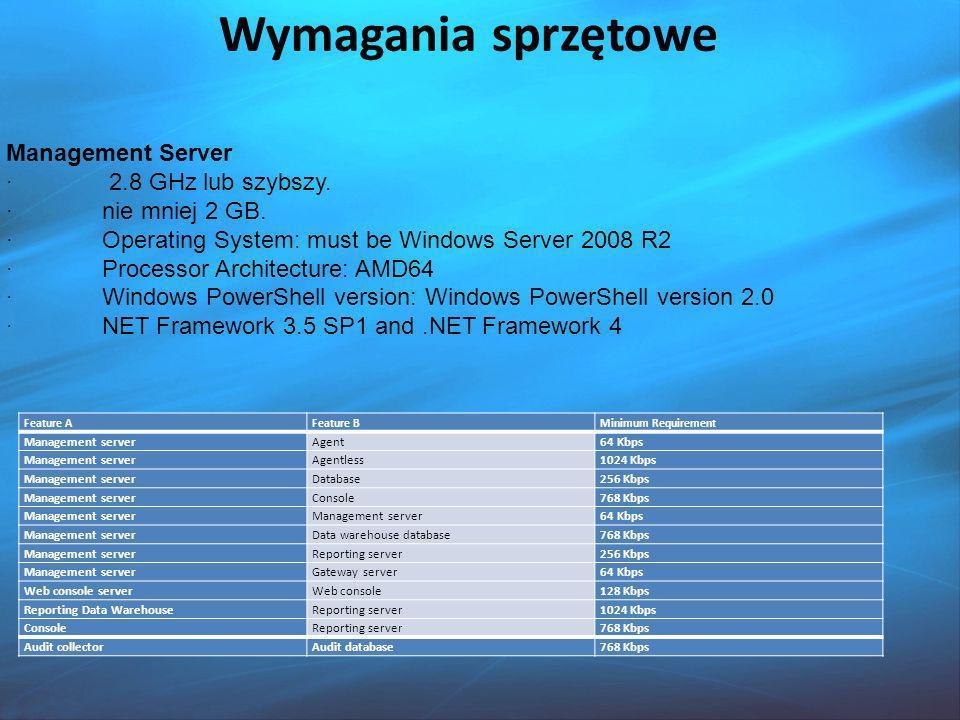 Wymagania sprzętowe Management Server · 2.8 GHz lub szybszy.