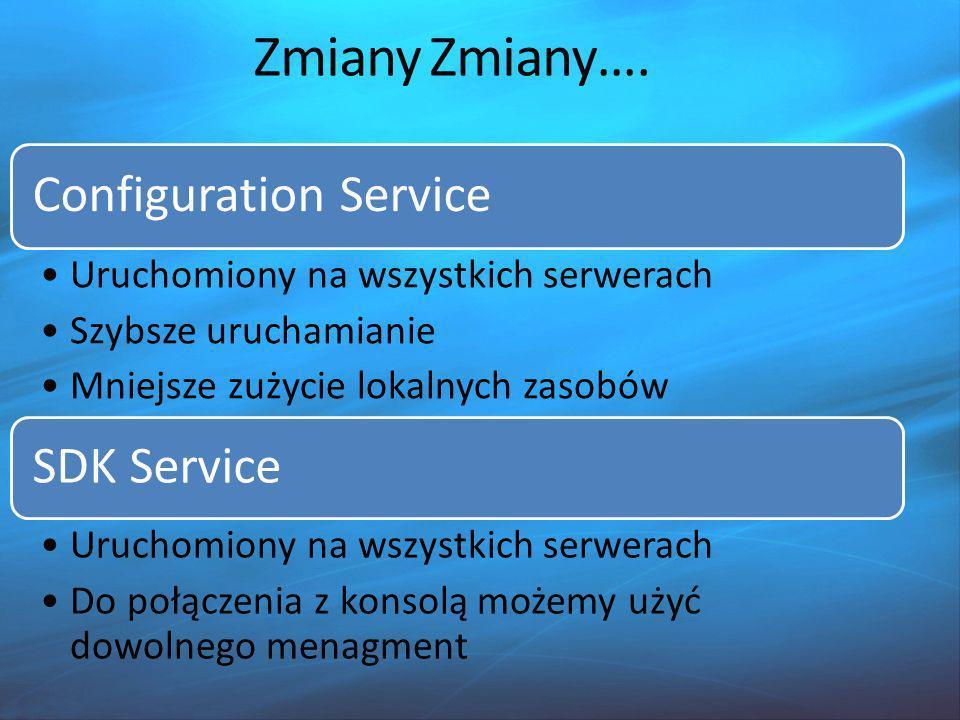 Zmiany Zmiany…. Configuration Service SDK Service