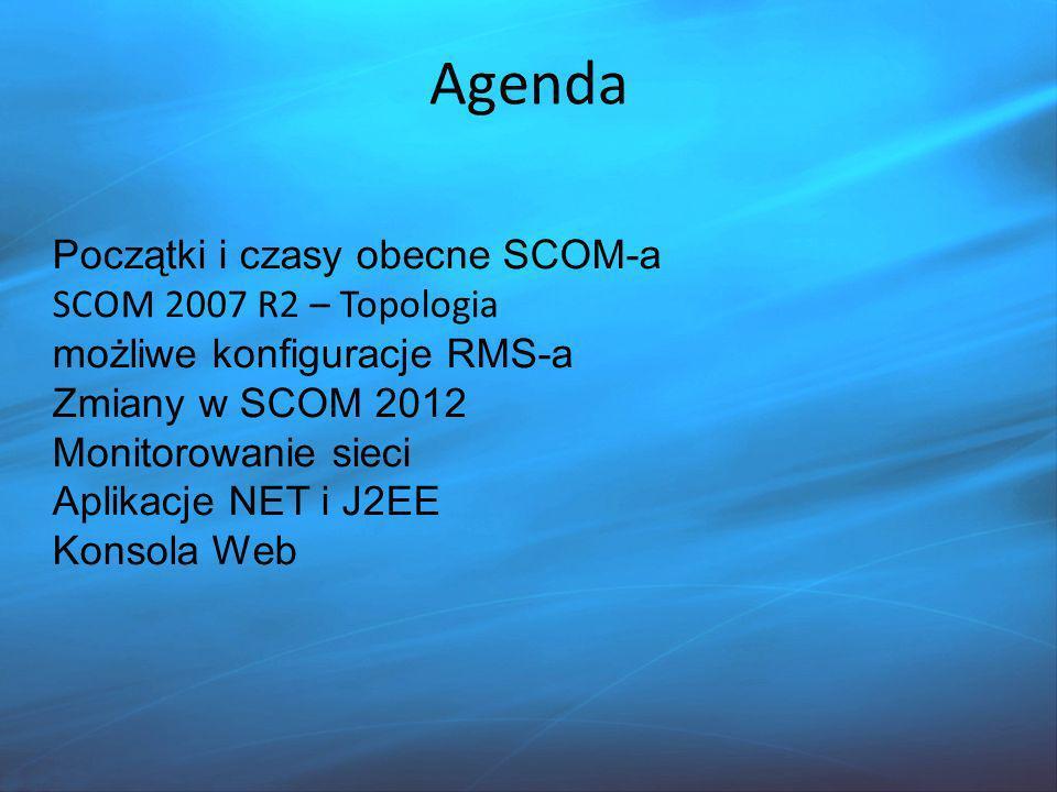 Agenda Początki i czasy obecne SCOM-a SCOM 2007 R2 – Topologia
