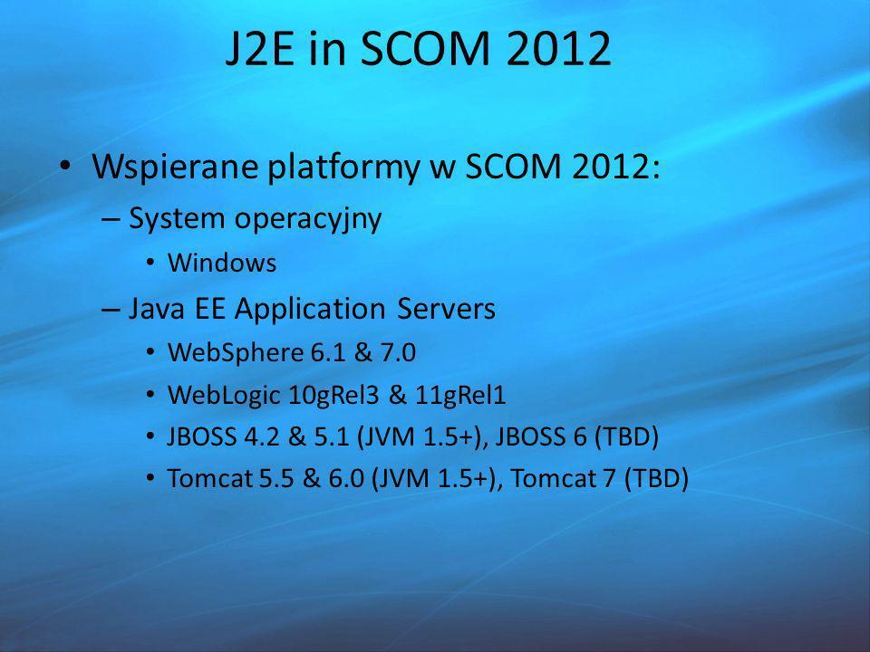 J2E in SCOM 2012 Wspierane platformy w SCOM 2012: System operacyjny