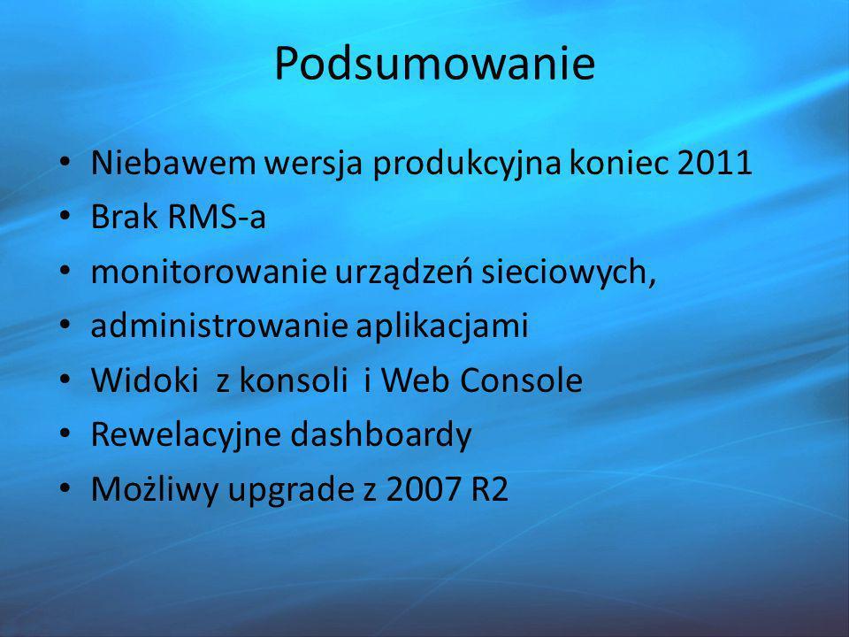 Podsumowanie Niebawem wersja produkcyjna koniec 2011 Brak RMS-a
