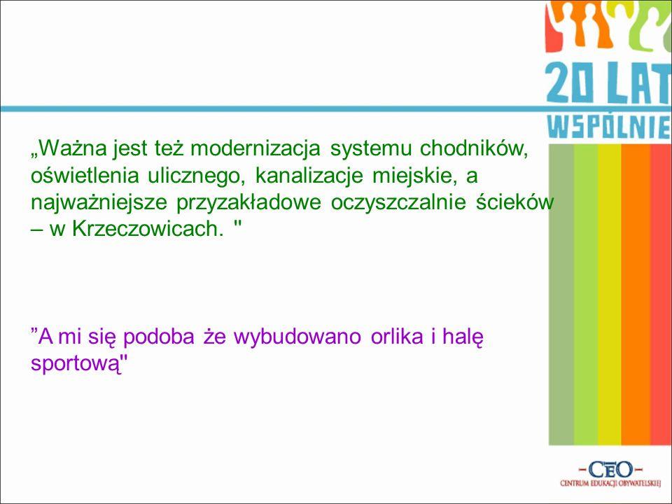 """""""Ważna jest też modernizacja systemu chodników, oświetlenia ulicznego, kanalizacje miejskie, a najważniejsze przyzakładowe oczyszczalnie ścieków – w Krzeczowicach."""