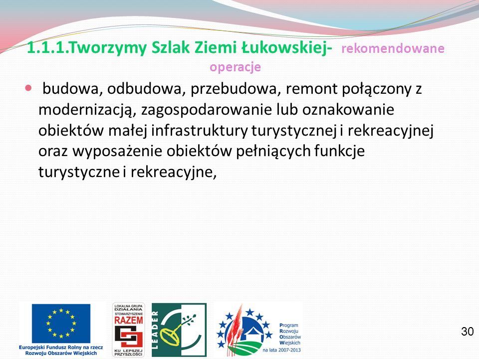 1.1.1.Tworzymy Szlak Ziemi Łukowskiej- rekomendowane operacje