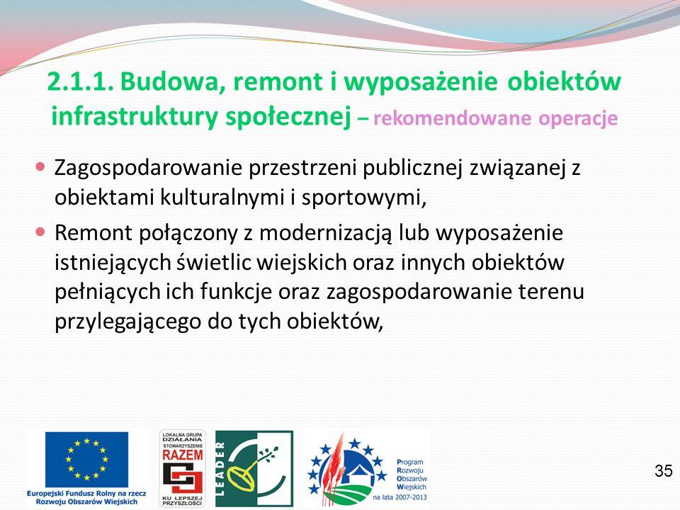 2.1.1. Budowa, remont i wyposażenie obiektów infrastruktury społecznej – rekomendowane operacje