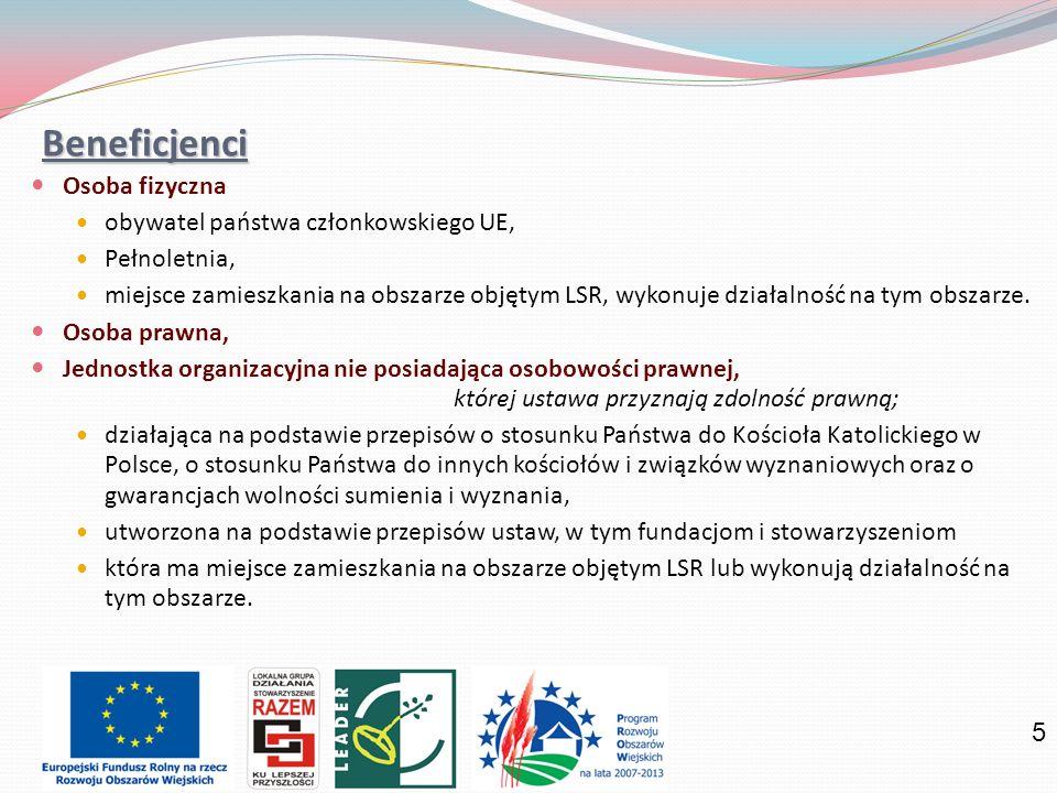Beneficjenci Osoba fizyczna obywatel państwa członkowskiego UE,