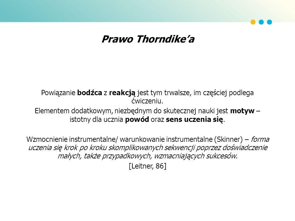 Prawo Thorndike'a Powiązanie bodźca z reakcją jest tym trwalsze, im częściej podlega ćwiczeniu.