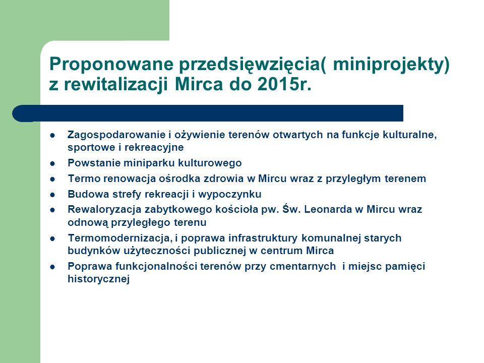 Proponowane przedsięwzięcia( miniprojekty) z rewitalizacji Mirca do 2015r.