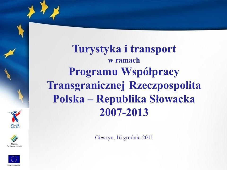 Turystyka i transport w ramach. Programu Współpracy Transgranicznej Rzeczpospolita Polska – Republika Słowacka.