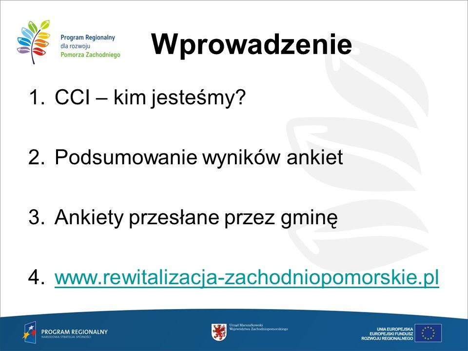 Wprowadzenie CCI – kim jesteśmy Podsumowanie wyników ankiet