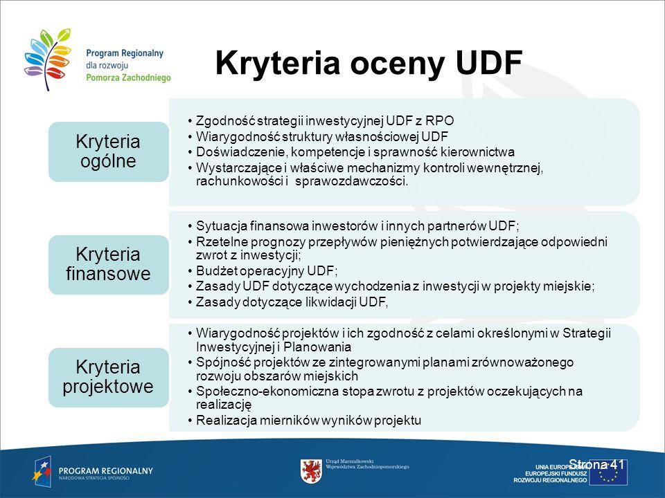 Kryteria oceny UDF Kryteria ogólne Kryteria finansowe