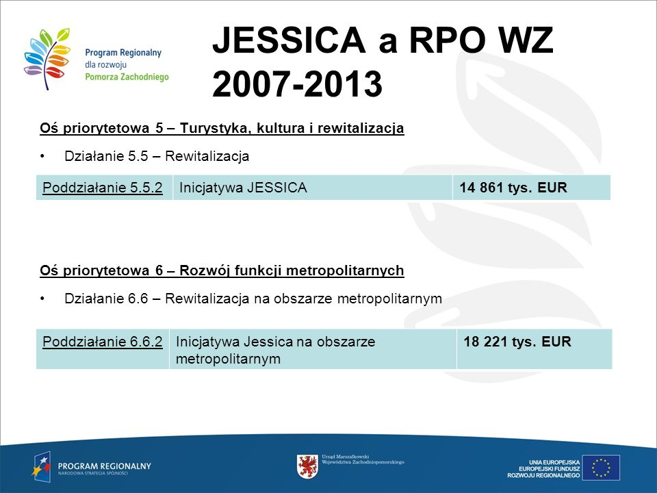 JESSICA a RPO WZ 2007-2013 Oś priorytetowa 5 – Turystyka, kultura i rewitalizacja. Działanie 5.5 – Rewitalizacja.