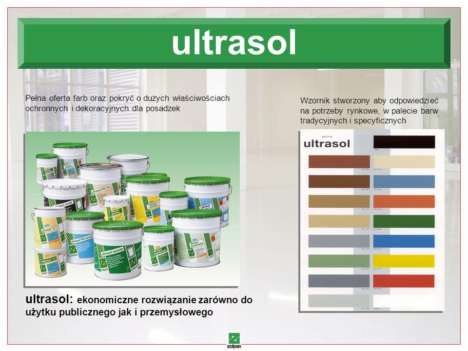 ultrasol Pełna oferta farb oraz pokryć o dużych właściwościach ochronnych i dekoracyjnych dla posadzek.