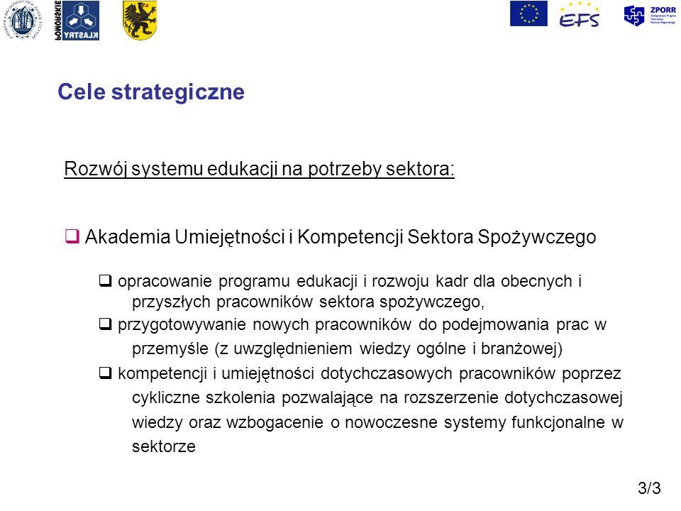 Cele strategiczne Rozwój systemu edukacji na potrzeby sektora: