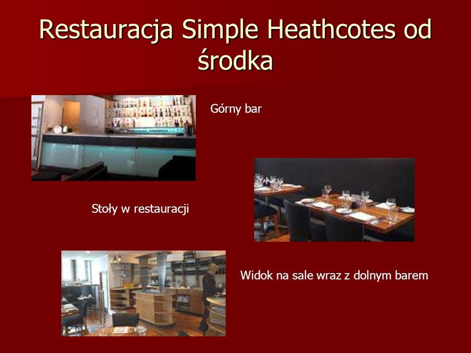 Restauracja Simple Heathcotes od środka