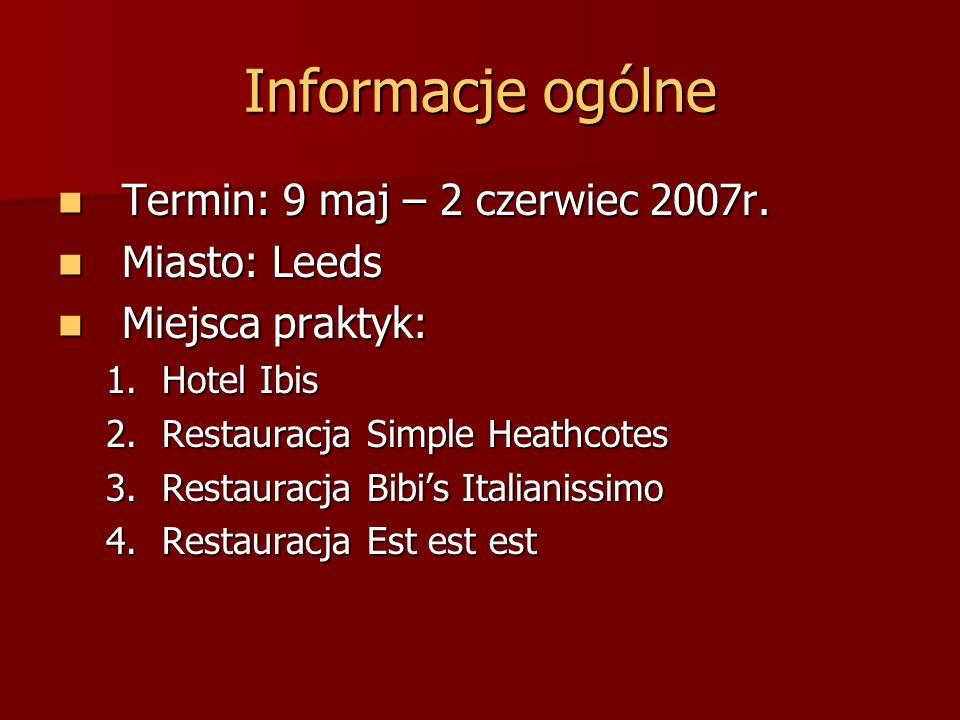 Informacje ogólne Termin: 9 maj – 2 czerwiec 2007r. Miasto: Leeds
