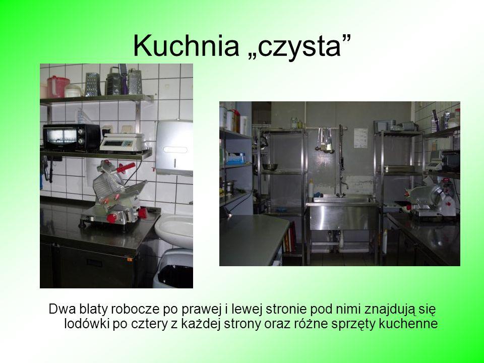 """Kuchnia """"czysta Dwa blaty robocze po prawej i lewej stronie pod nimi znajdują się lodówki po cztery z każdej strony oraz różne sprzęty kuchenne."""