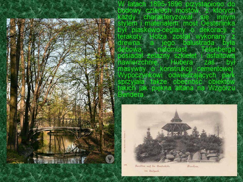 W latach 1895-1896 przystąpiono do budowy czterech mostów, z których każdy charakteryzował się innym stylem i materiałem: most Oesterlinka był piaskowo-ceglany o dekoracji z terakoty, Holza został wykonany z drewna, a jego balustrada była dębowa, natomiast Telenberga posiadał żelazny szkielet i asfaltową nawierzchnię, Hubera zaś był masywny o konstrukcji cementowej.