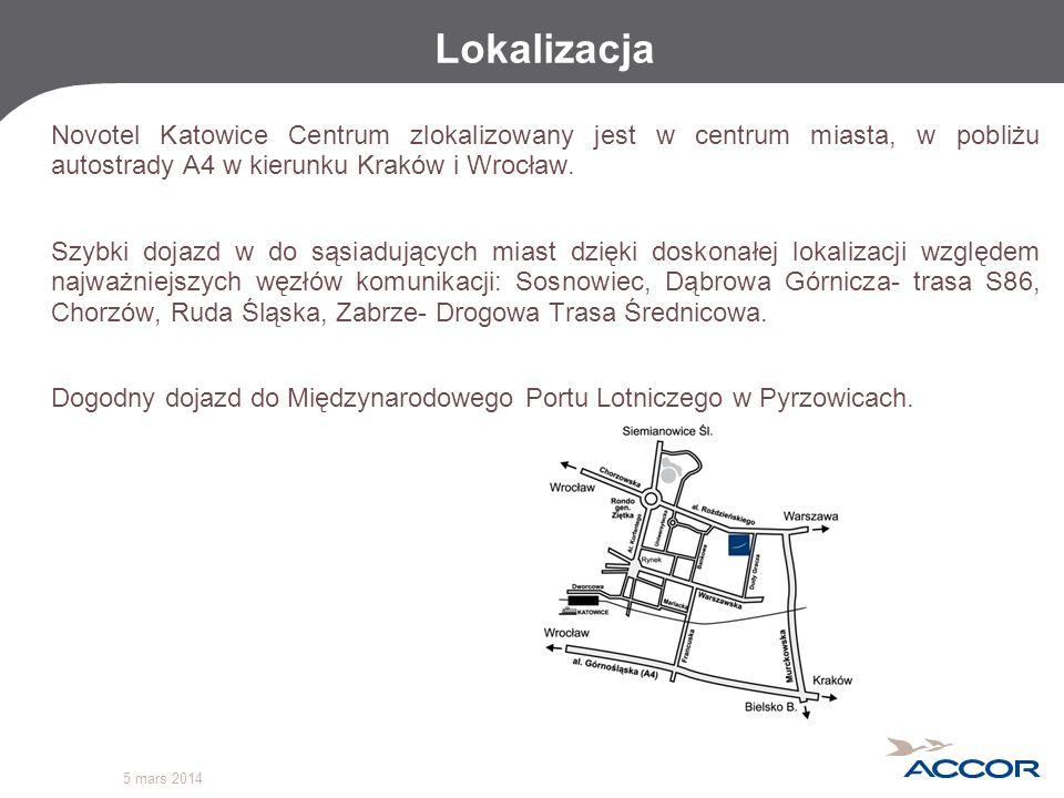 Lokalizacja Novotel Katowice Centrum zlokalizowany jest w centrum miasta, w pobliżu autostrady A4 w kierunku Kraków i Wrocław.