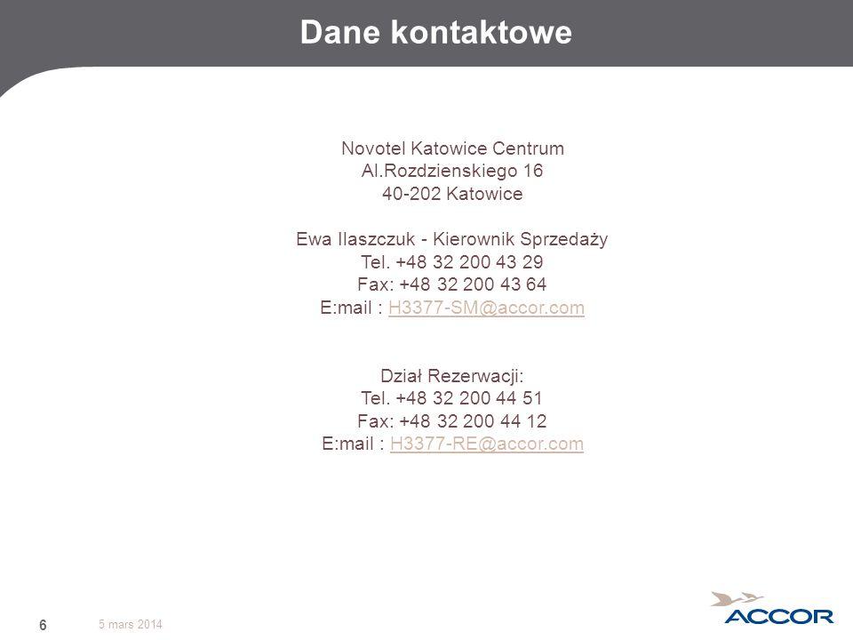 Dane kontaktowe Novotel Katowice Centrum Al.Rozdzienskiego 16