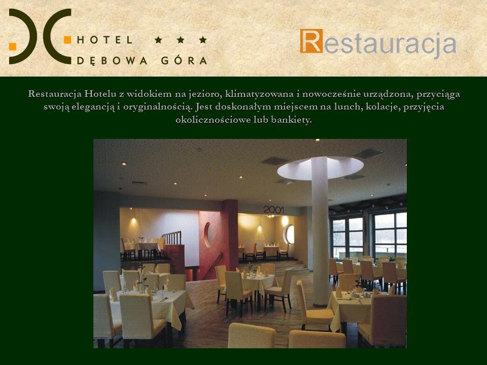 Restauracja Hotelu z widokiem na jezioro, klimatyzowana i nowocześnie urządzona, przyciąga swoją elegancją i oryginalnością.