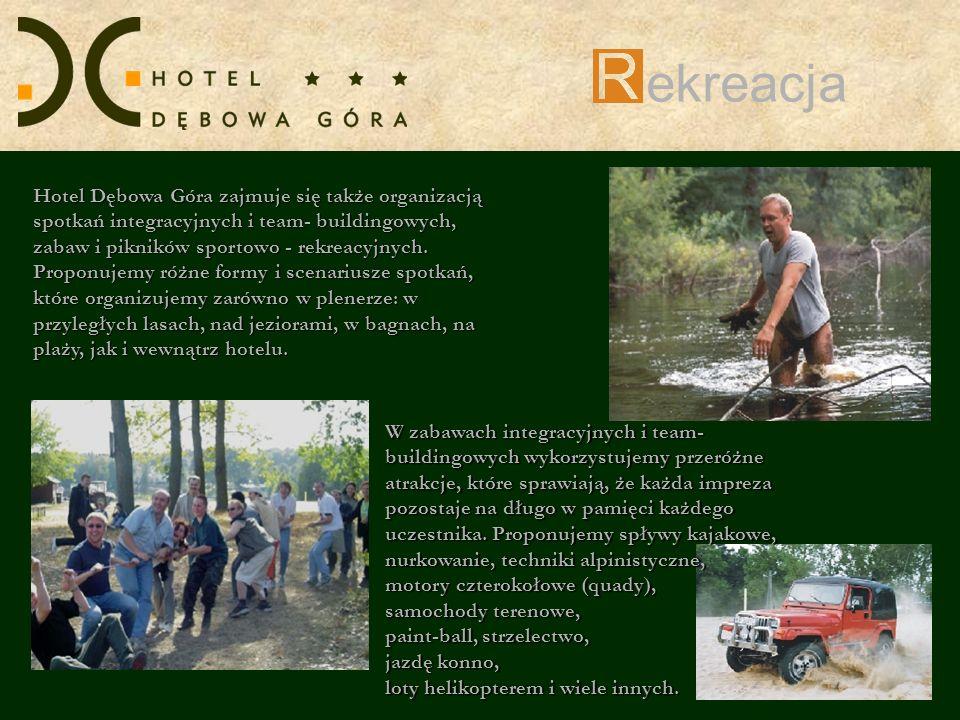 ekreacja Hotel Dębowa Góra zajmuje się także organizacją spotkań integracyjnych i team- buildingowych, zabaw i pikników sportowo - rekreacyjnych.
