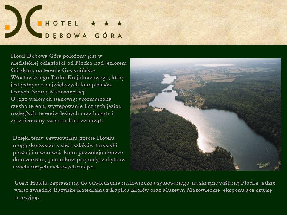 Hotel Dębowa Góra położony jest w niedalekiej odległości od Płocka nad jeziorem Górskim, na terenie Gostynińsko- Włocławskiego Parku Krajobrazowego, który jest jednym z największych kompleksów leśnych Niziny Mazowieckiej. O jego walorach stanowią: urozmaicona rzeźba terenu, występowanie licznych jezior, rozległych terenów leśnych oraz bogaty i zróżnicowany świat roślin i zwierząt.