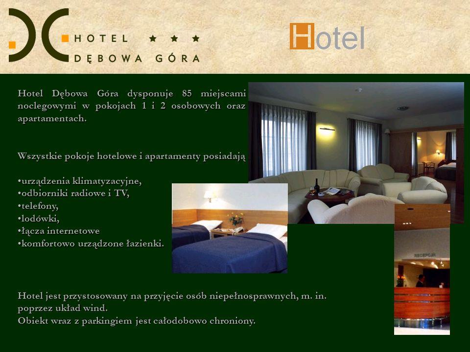 Hotel Dębowa Góra dysponuje 85 miejscami noclegowymi w pokojach 1 i 2 osobowych oraz apartamentach.
