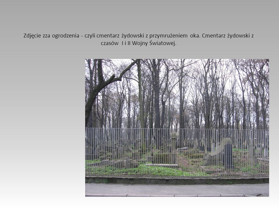 Zdjęcie zza ogrodzenia - czyli cmentarz żydowski z przymrużeniem oka