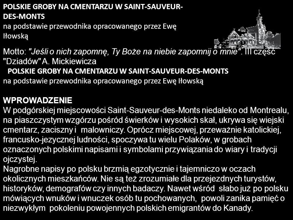 POLSKIE GROBY NA CMENTARZU W SAINT-SAUVEUR-DES-MONTS na podstawie przewodnika opracowanego przez Ewę Iłowską