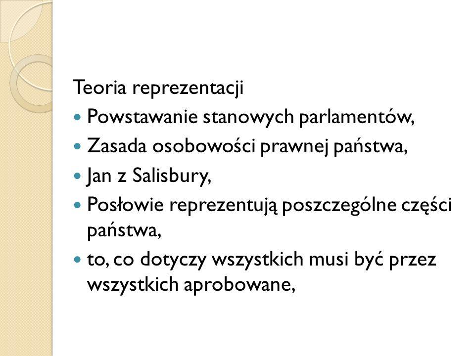Teoria reprezentacjiPowstawanie stanowych parlamentów, Zasada osobowości prawnej państwa, Jan z Salisbury,